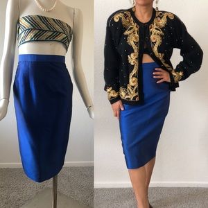 NEW Silk Electric blue pencil skirt- JUST BEAUTIFU